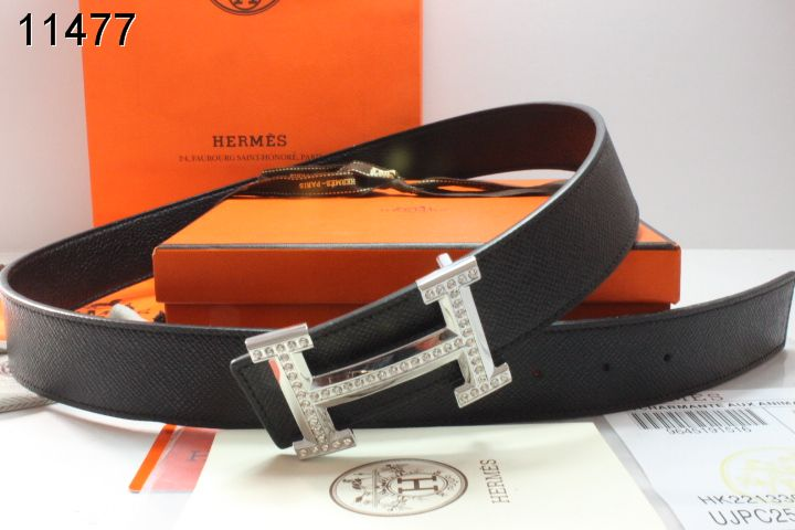 Black Hermes Belt Mens with Silver H Buckle Store